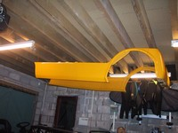 Bodywork hanging from ceiling (click for larger image)
