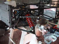 Nearside front suspension assembled (click for larger image)